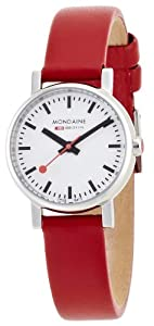 Mondaine Women's Quartz Watch with White Dial Analogue Display and Red Leather Strap A658.30301.11SBC
