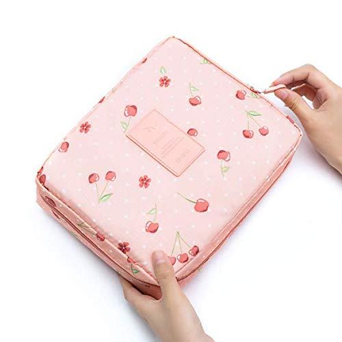 YASSUN Travel Makeup Cosmetic Bag,Multifunction Washing Cosmetic Bag Portable Makeup Pouch Suitable for Girl and Women, pink Cherry ()
