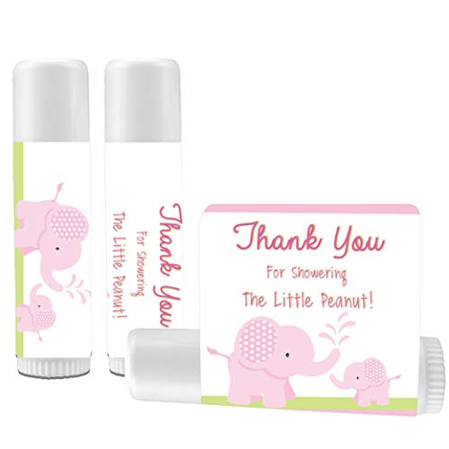 12 Elephant Baby Shower Lip Balms - Girl Baby Shower Favors - Elephant Shower Favors - Pink Elephant Favors]()
