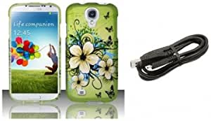 Bloutina Samsung Galaxy S4 - Accessory Combo Kit - Green Hibiscus Butterfly Flower Design Shield Case + Atom LED Keychain...
