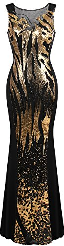 Angel-fashions Women's Sheer Sequins Sheath Mermaid Hollow Out Prom Dress (S, Gold) -
