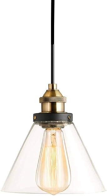 SISVIV Suspension Luminaire Industrielle Vintage Rétro Abat jour Verre Culot E27 Éclairage de Plafond pour Cuisine Salle à manger Salon Chambre