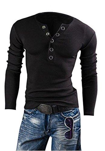 Keral Men More Than Buckle Big V-Neck Long Sleeved Slim Brushed T-Shirt_Black_XXL