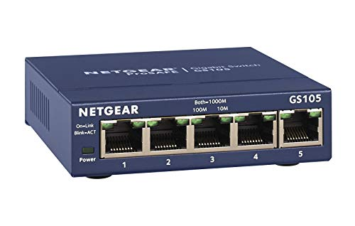 - NETGEAR 5-Port Gigabit Ethernet Unmanaged Switch (GS105NA) - Desktop, and ProSAFE Lifetime Protection