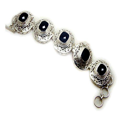 (Gemsomnclick Natural Black Onyx Sterling Silver Link Bracelet For Women Toggle Clasps Bangle L 6.5-8)