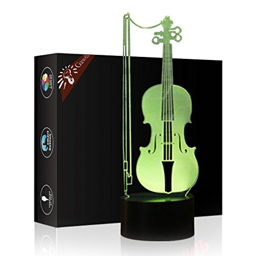 Christmas Gift Violin 3D Illusion Birthday Present Lamp, Gawell 7 Color Changing Touch Switch Table Desk Decoration Night Light with Acrylic Flat & ABS Base & USB Cable Toy for Music Lover