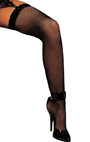 Fishnet Thigh Highs with Lace Top Hosiery - One Size for $<!--$3.99-->