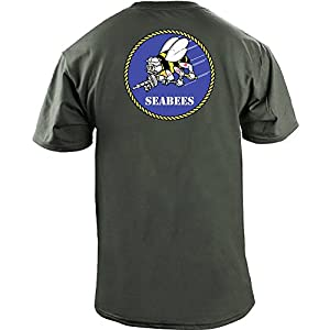 Original USN Seabees Insignia Full Color Veteran Patch T-Shirt