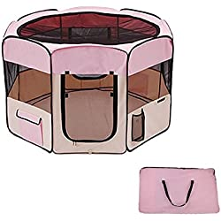 Pink Nylon Oxford Pet Playpen With Ebook