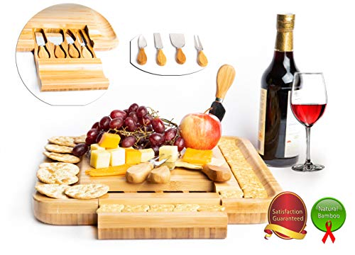Natural Bamboo Cheese Board & Charcuterie Platter with