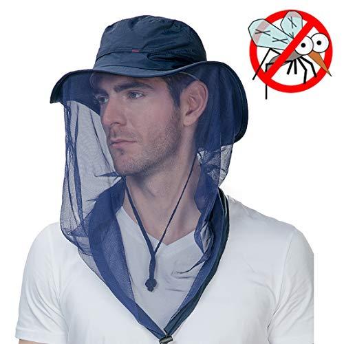 Anti Mosquito Insect Bug Repellent Net Fly Fishing Hat Summer Sun UV Exploring Men Nylon Bucket Hiking Boating Gardening Landscape Veil Hats Blue