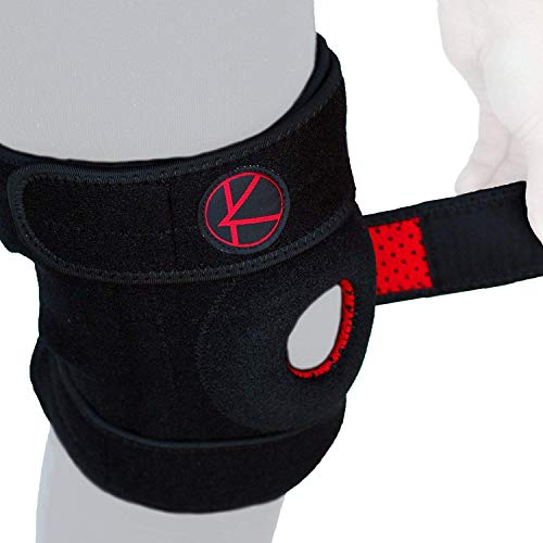 Adjustable Knee Brace Support - Best Plus Size Knee Brace for ACL, MCL, LCL, Sports, Meniscus Tear. Open Patella Knee Brace for Arthritis Pain and Support for Women, Men, Kids (Size 2 Black)