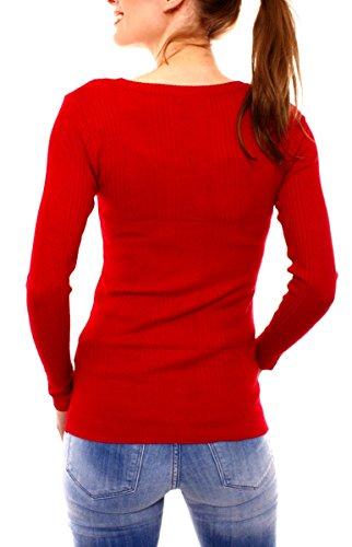 Rouge maille Femme Gilet Fragola Gilet Moda en YCqw8nHxB