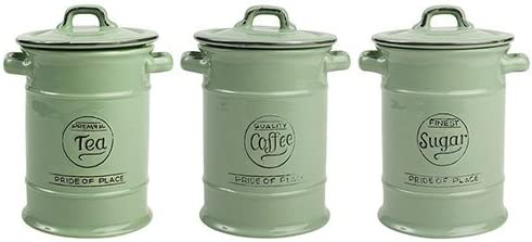 T and G Pride of Place Tea Coffee & Sugar Storage Jars - Sage Green