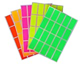 bright colored chart paper - Color coding labels Rectangle florescent neon 1.57 inch x 0.75 inch Rectangular stickers in Bright colors/Yellow/Pink/Orange/Green/Red ( 40mm x 19 ) - 400 Pack by Royal Green