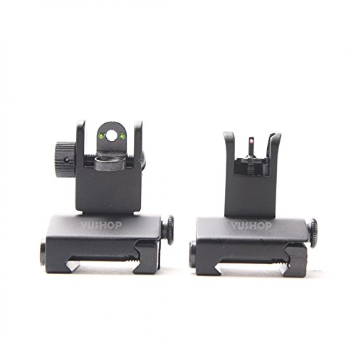 - Fiber Optic Mini Flip Up Front & Rear Sight Picatinny/Weaver Rail Mount Flat-Top Pattern