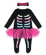 Cosland Baby Girls Halloween Costume Infant Skeleton Romper with Headband