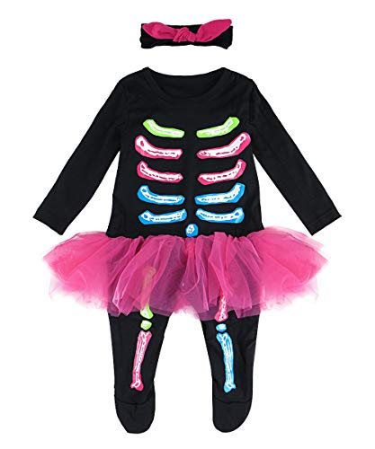 COSLAND Baby Girls Halloween Costume Infant Skeleton Romper with Headband (Skeleton, 3-6 Months) -