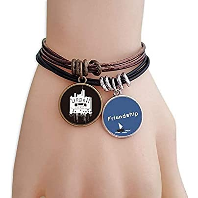 YMNW Street Landmark Silhouette Pattern Graffiti Friendship Bracelet Leather Rope Wristband Couple Set Estimated Price -