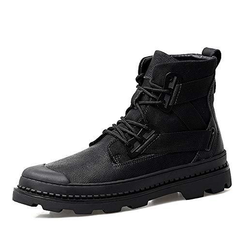 ZyuQ Herrenstiefel Herbst und Winter Herren Martin Stiefel Herrenmode Kurze Stiefel Pu High, um den Militärstiefeln zu helfen, Sich zu erwärmen und Baumwollschnee-Stiefel hinzuzufügen
