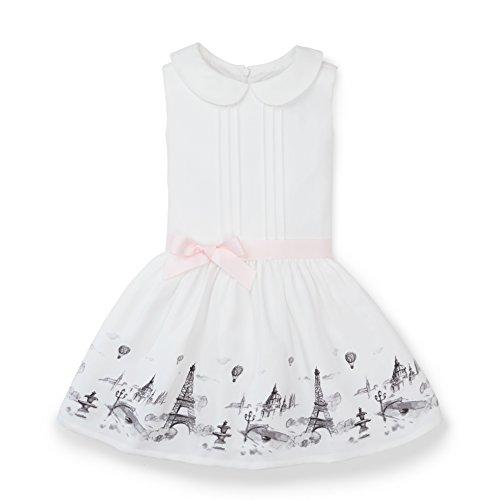 Hope & Henry Girls' Ivory Paris Printed Drop Waist Dress Size 6-12 - Waist Dress Printed Drop