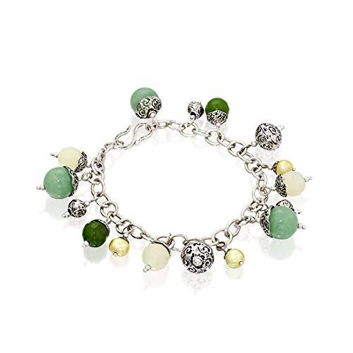- Paz Creations .925 Sterling Silver Multi Gemstone Charm Bracelet (7.25, Jade)