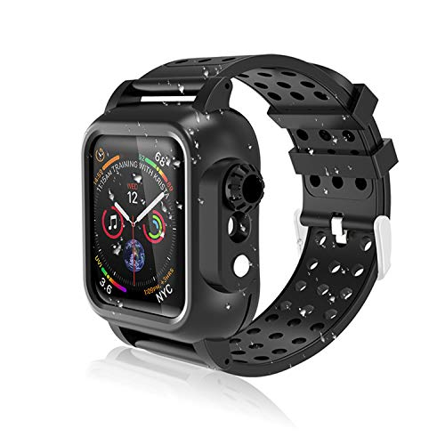 Realproof Waterproof Apple Watch Case 40MM Series 5 / 40MM Series 4 with Premium Soft Silicone Band Built-in Screen Protector, iwatch Protective Case Slim Thin Drop Shock Proof Apple Watch Case