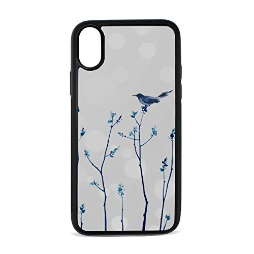 iPhone Blue Bird Cute Flower Winter Scene Flying Beautiful Painting Art Digital Print TPU Pc Pearl Plate Cover Phone Hard Case Accessories Compatible with Protective Apple Iphonex/xs Case 5.8 Inch