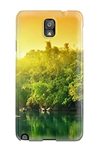 Evelyn Alas Elder's Shop High Quality Shock Absorbing Case For Galaxy Note 3-green River With Sunrise