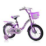 BaoKangShop Bikes Children's bicycle 2-10 years old princess bicycle 12\14\16 inch girl pedal stroller (Color : Purple, Size : 14 inches)