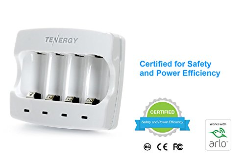 Arlo Certified: Tenergy 3.7V Arlo Battery Charger for Arlo Wireless Security Cameras (VMC3030/3200/3330/3430/3530) Fast Charger with 4-Pack 650mAh RCR123A Li-ion Rechargeable Batteries UL UN Certified