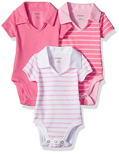 Hanes Ultimate Baby Flexy 3 Pack Short Sleeve Polo Bodysuits, Pink Stripe, 18-24 -
