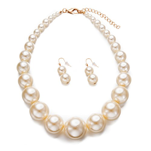 Womens Faux Big Pearl Choker Necklace and Earring Set Fashion Pearl Set - Big Costumes Jewelry Necklaces