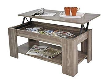 Home Source Caspian Lift Top Coffee Table With Storage Shelf Espresso Walnut Oak White Walnut