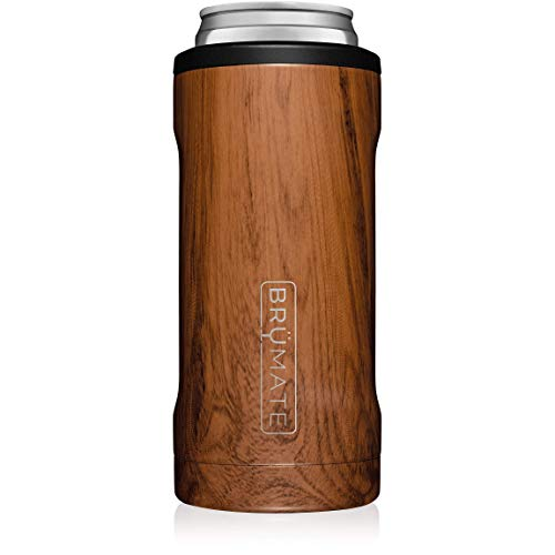 BrüMate Hopsulator Slim Double-walled Stainless Steel Insulated Can Cooler for 12 Oz Slim Cans (Walnut)
