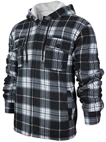 Men's Heavyweight Flannel Zip Up Fleece Lined Plaid Sherpa Hoodie Jacket (XX-Large, MFJ130 - Black)