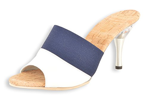 Molly: White/Navy Glass slipper Genuine Leather and elastic 3.5'' silver metal heel with clear acrylic bottom by Kristoff