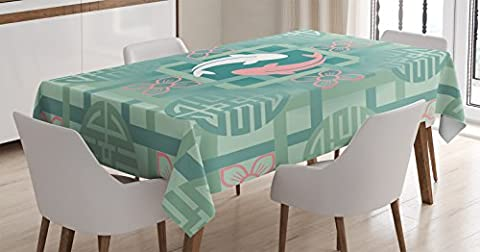 Japanese Decor Tablecloth by Ambesonne, Dolphin Couple on Geometrical Featured Round and Squared Figures Backdrop Culture Work, Dining Room Kitchen Rectangular Table Cover, 52 X 70 (Squared Round Dining Room Table)