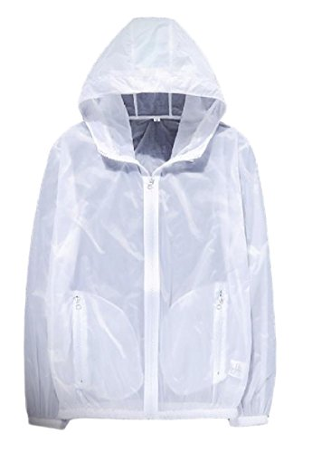 Zipper XINHEO Hood Mens Pure White Breathable Rash Beach Jacket Guards 70F7H