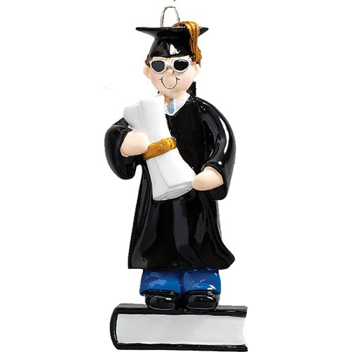 Personalized Graduate Boy Christmas Ornament - Brunette Man in Dress Sunglass Diploma on Book - College Under-Graduation PhD Masters Degree New End School Teen - Free Customization (Brown Hair Male)
