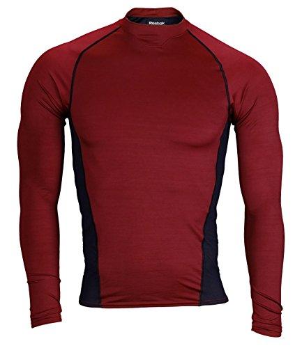 Reebok PlayDry Men's Long Sleeve Athletic Shirt (3X-Large, Maroon/Black)