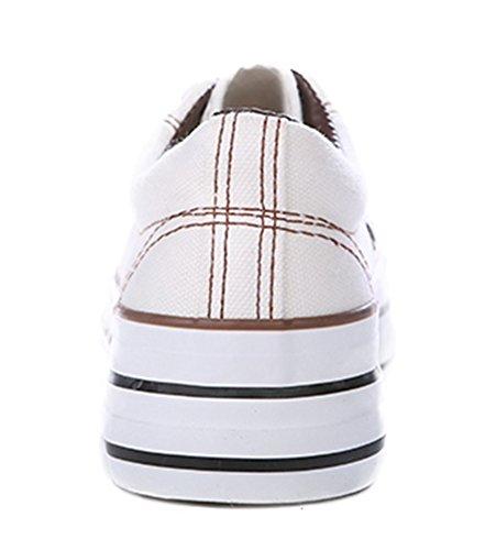 Aisun Donna Trendy Sneakers In Canvas Con Plateau Bianco