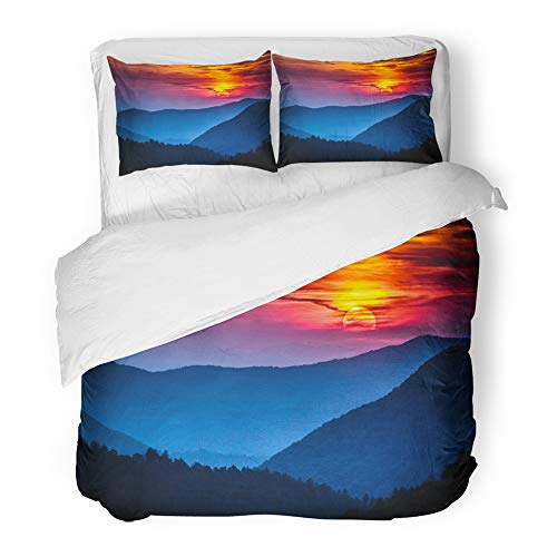 Emvency Decor Duvet Cover Set King Size Great Smoky Mountains National Park Scenic Sunset Landscape Vacation Getaway 3 Piece Brushed Microfiber Fabric Print Bedding Set Cover -