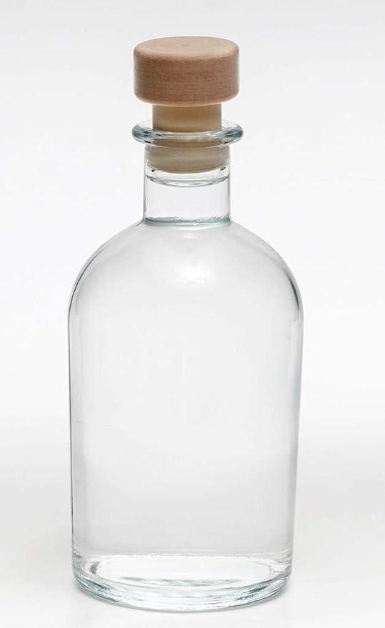 casa-vetro 6 12 o 24 Botellas de Cristal vacías de 250 ml con tapón de Corcho, 0,25 litros, Vidrio, Blanco, 12 x Griffkorken