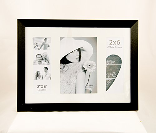 Photo Booth Frames Wall for Two 2X6 INCH Photos and ONE 4X6 Vertical Picture Photo Booth Picture Collage with -