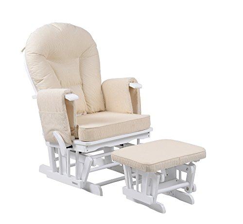 Silla mecedora de maternidad Sereno Nursing Glider con bloqueo de deslizamiento y escabel… (Blanco)