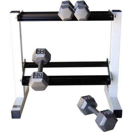 500 lbs Weight Capacity 20'' Two-Tier Dumbbell Rack in Black/White