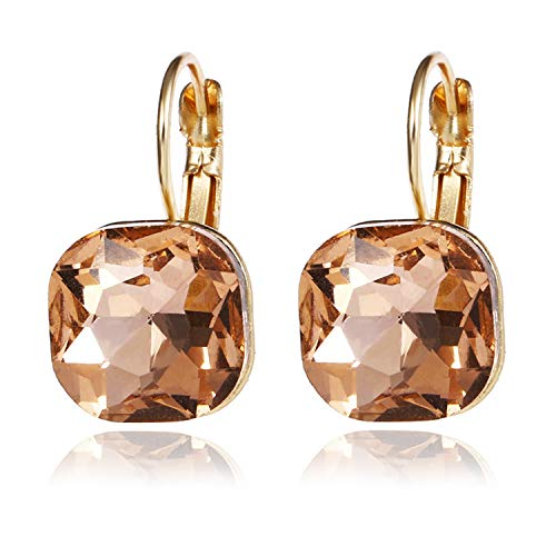 Crystal Earrings Gold Color 100% Austrian Rhinestone Crystal Jewelry Drop Hoop Cubic Cut Earrings Female Earrings Gift ()