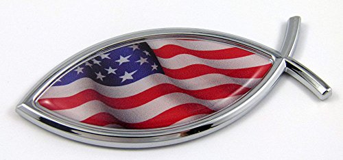 (Jesus Fish USA Flag American Car bike Auto Chrome Emblem Decal Sticker Christian Car Chrome Decals)