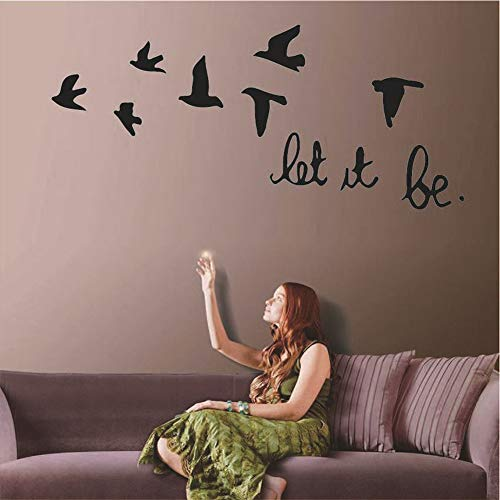 ADECNS Let It Be Wall Decal Beatles Music Wall Sticker Birds Room Art Decoration Lettering Stickers Home Decor(22.4